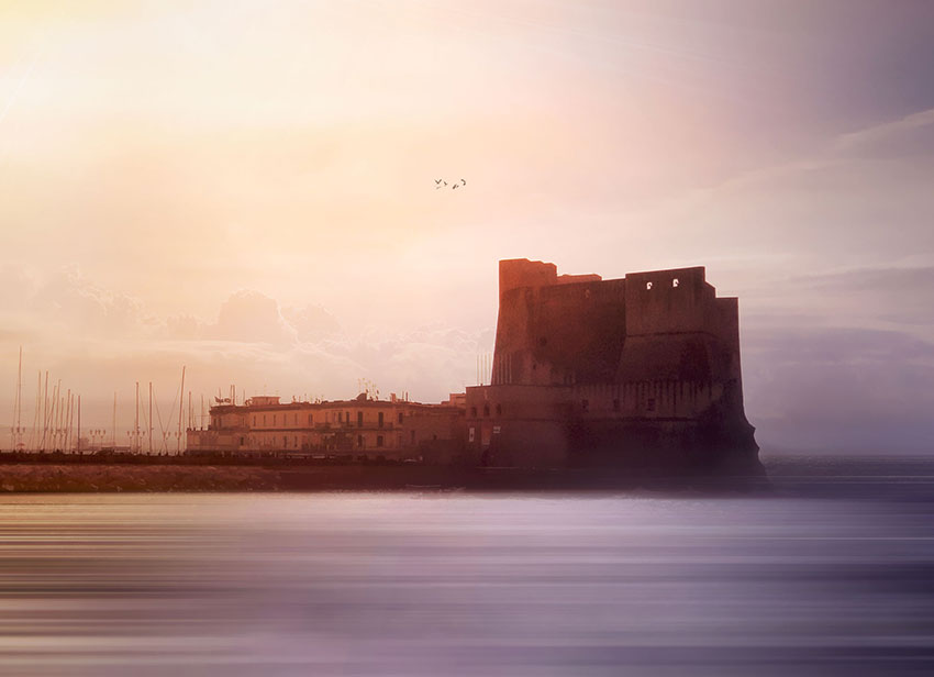 Castel Nuovo or Maschio Angioino, the gothic castle of Naples, Italy, (Nos Dren)