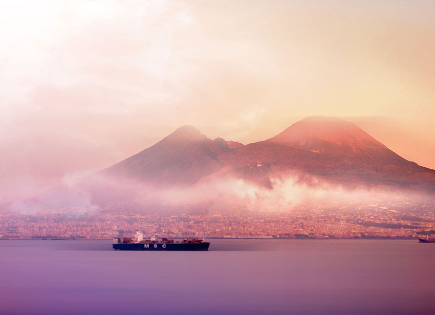 Mount Vesuvius from the bay of Naples by sunset, Naples, Italy, (Nos Dren).