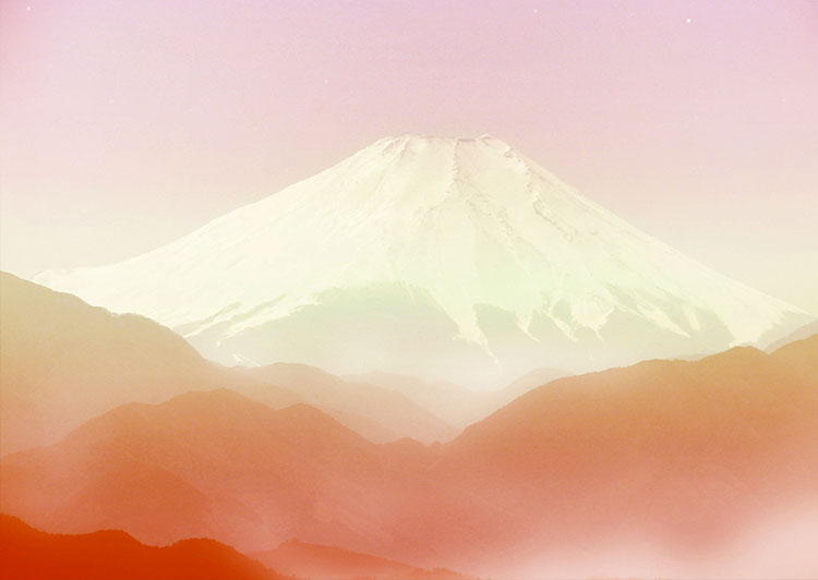 Mount Fuji, Fuji-san or Fujiyama view from above Hakone, landscape without a cloud by sunrise, (Nos Dren)