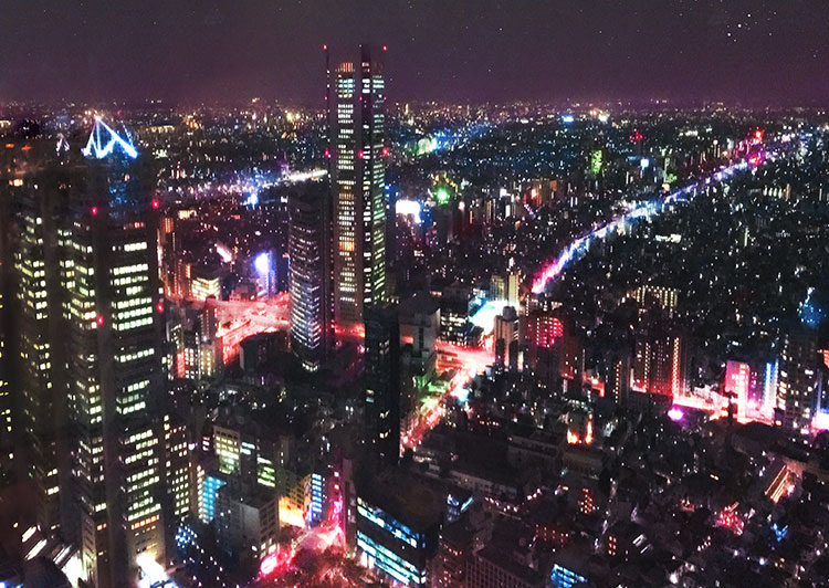 View of Shinjuku, Tokyo City, from the Tokyo Metropolitan Government Observatory by night, (Nos Dren)