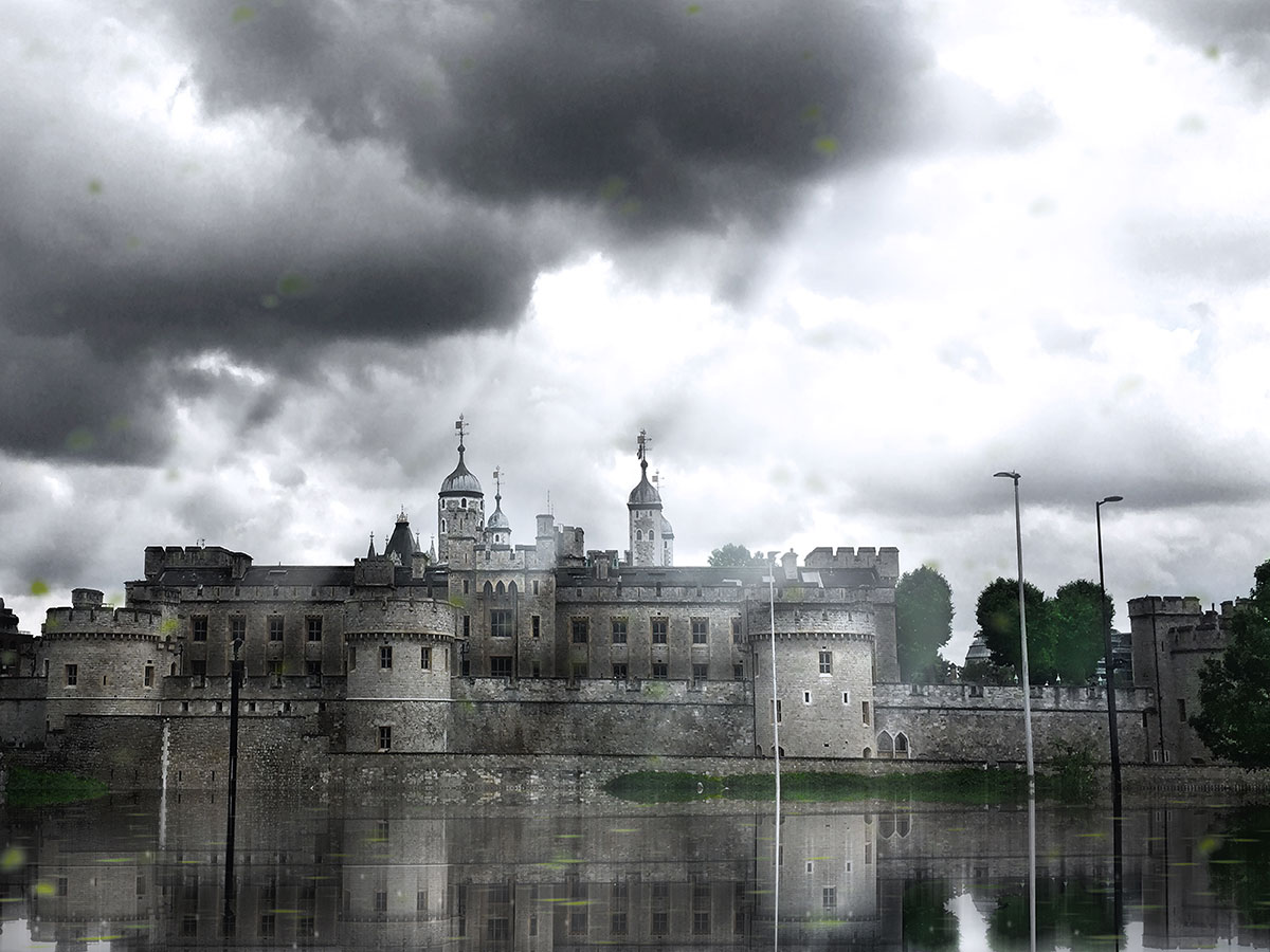 Her Majesty's Royal Palace and Fortress of the Tower of London, UK, with water mirror