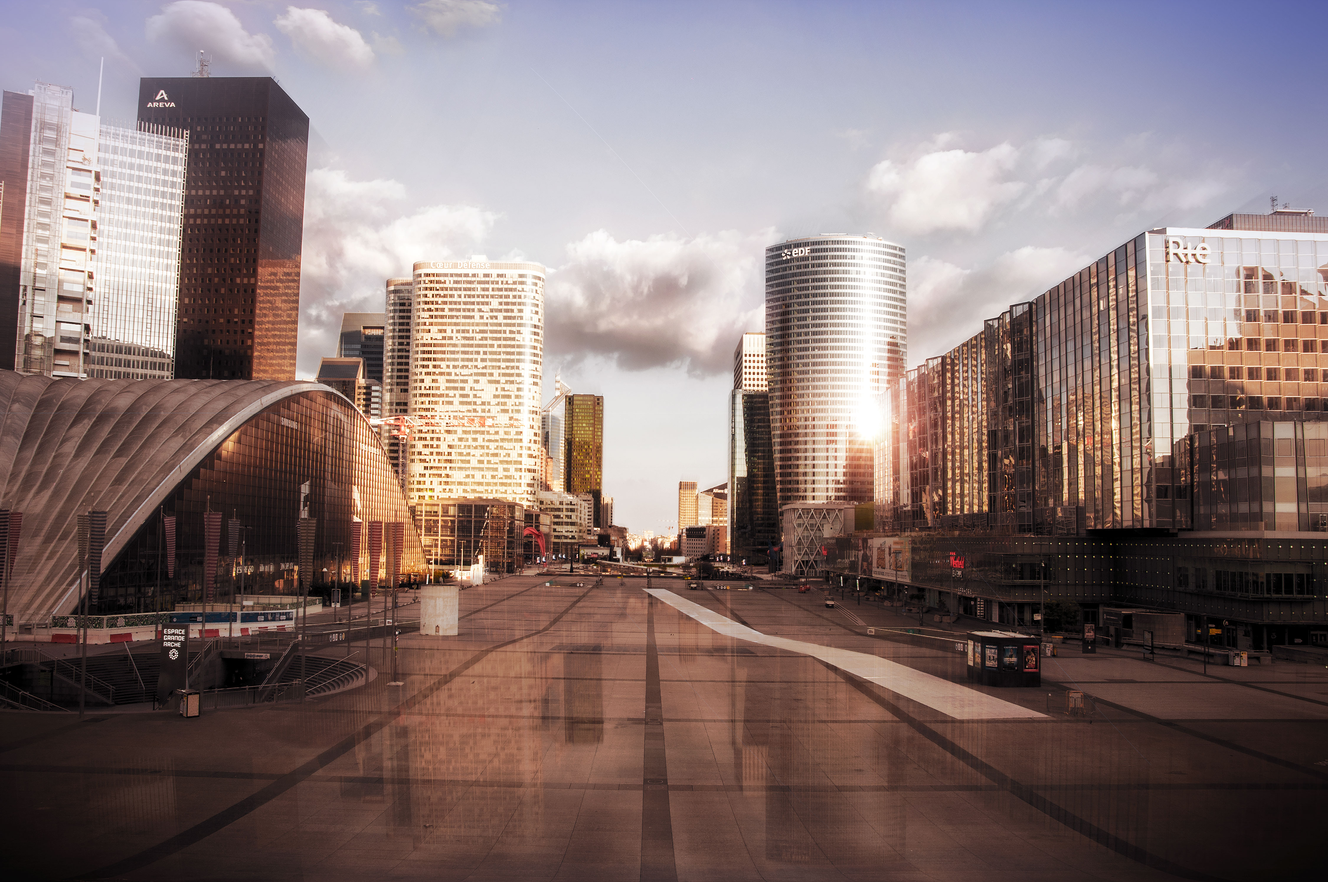 Paris La Défense, the French business district is empty like a ghost city because of the quarantine due to the Coronavirus COVID-19 2020, (Nos Dren)