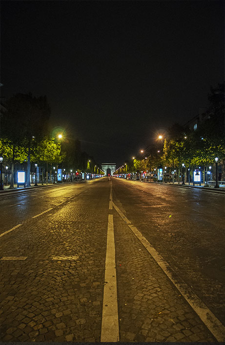Paris avenue des Champs Elysées empty street at night from Concorde to Charles de Gaulle Etoile, due to the new coronavirus COVID-19 2020, (Nos Dren)