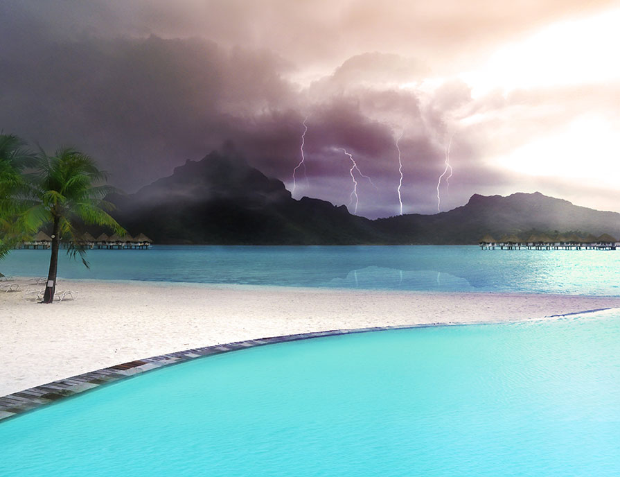 French Polynesian paradise island Bora Bora under lightning strikes storm view from the blue lagoon. (Nos Dren)