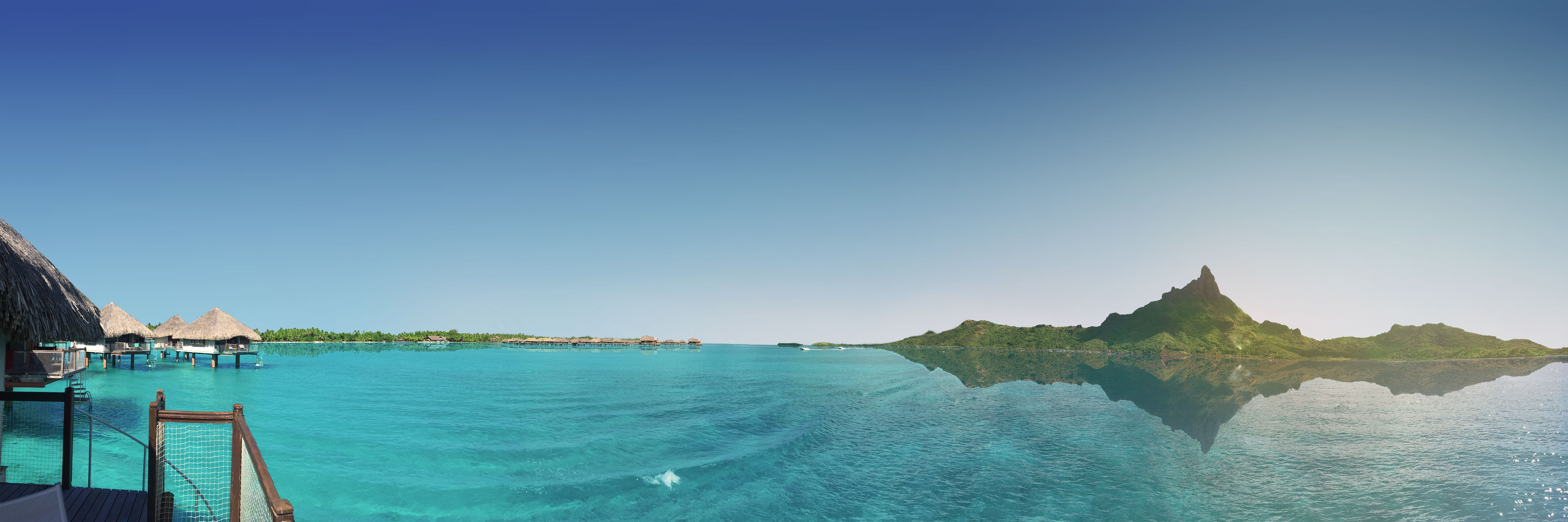 Bora Bora French Polynesian island 4K wallpaper background, large 360 panorama of the crystal blue water, mount Otemanu, stilt houses and palm trees, from Le Méridien Bora Hotel. (Nos Dren)
