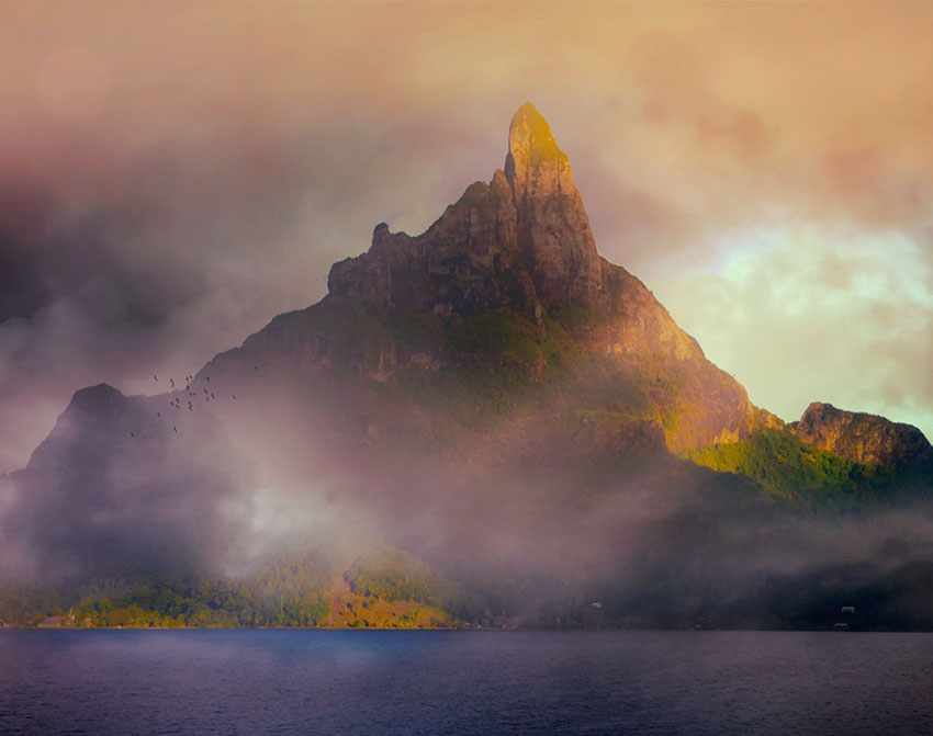 French Polynesia, Bora Bora island, mount Otemanu in middle of frog by sunset, dramatic photography. (Nos Dren)