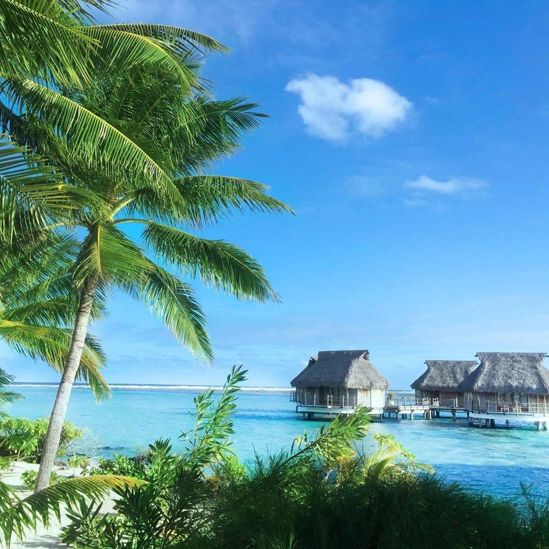 French Polynesia, Bora Bora island, paradise beach with coco trees and palm trees, blue lagoon and stilt houses. (Nos Dren)