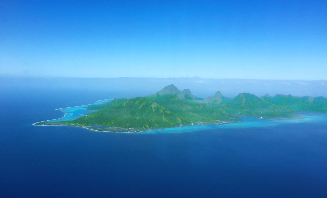 French Polynesia, Moorea green and wild island, the twin sister of Tahiti, incredible view from the sky